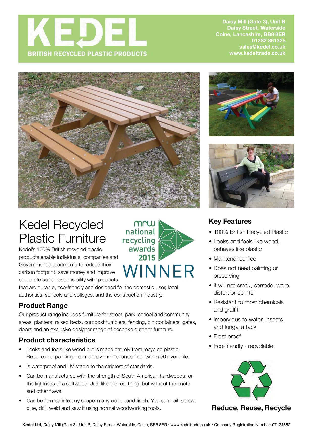 Recycled Plastic Furniture - Key Features Leaflet