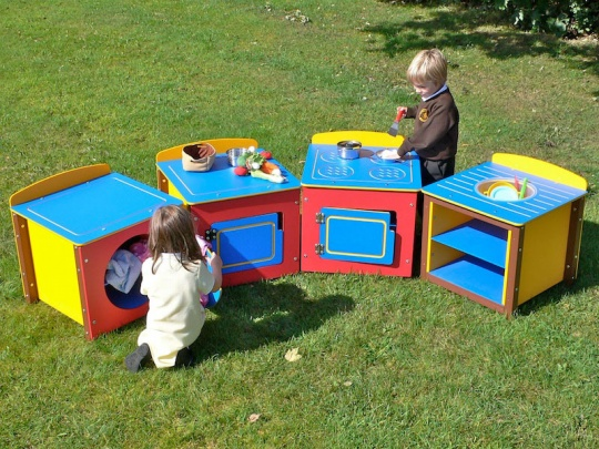 Children's Multicoloured Recycled Plastic Play Kitchen - Full Set