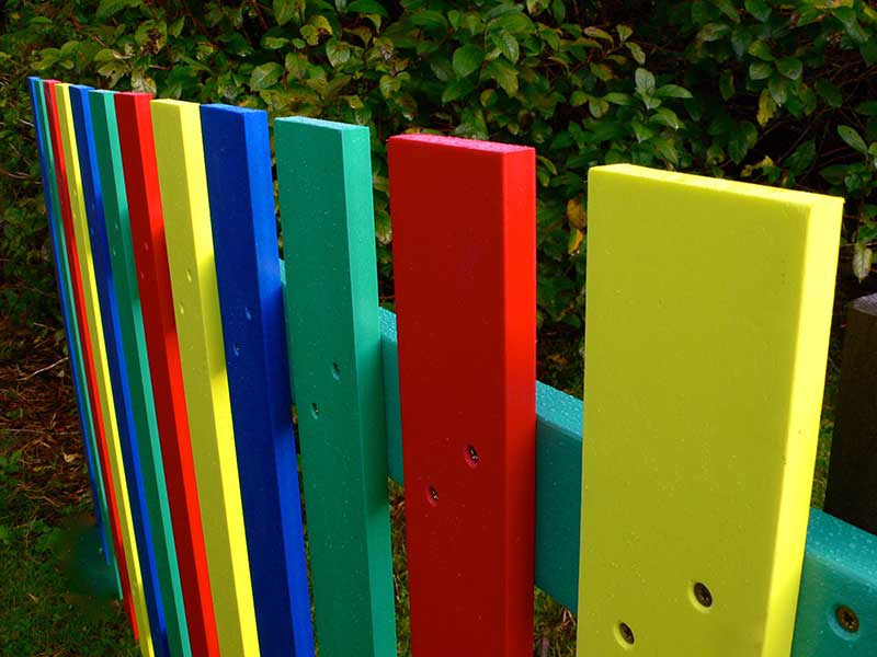 Multicoloured Fence Pales Recycled Plastic Wood