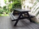 Colour: Black Walnut,  Size: (L)1500 x (W)1300 x (H)770 x (SH)490mm,  Type: Traditional picnic table