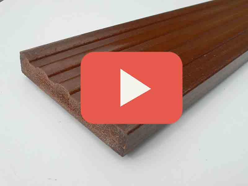 Plastic wood decking 120 x 20mm x 3m for Recycled plastic decking