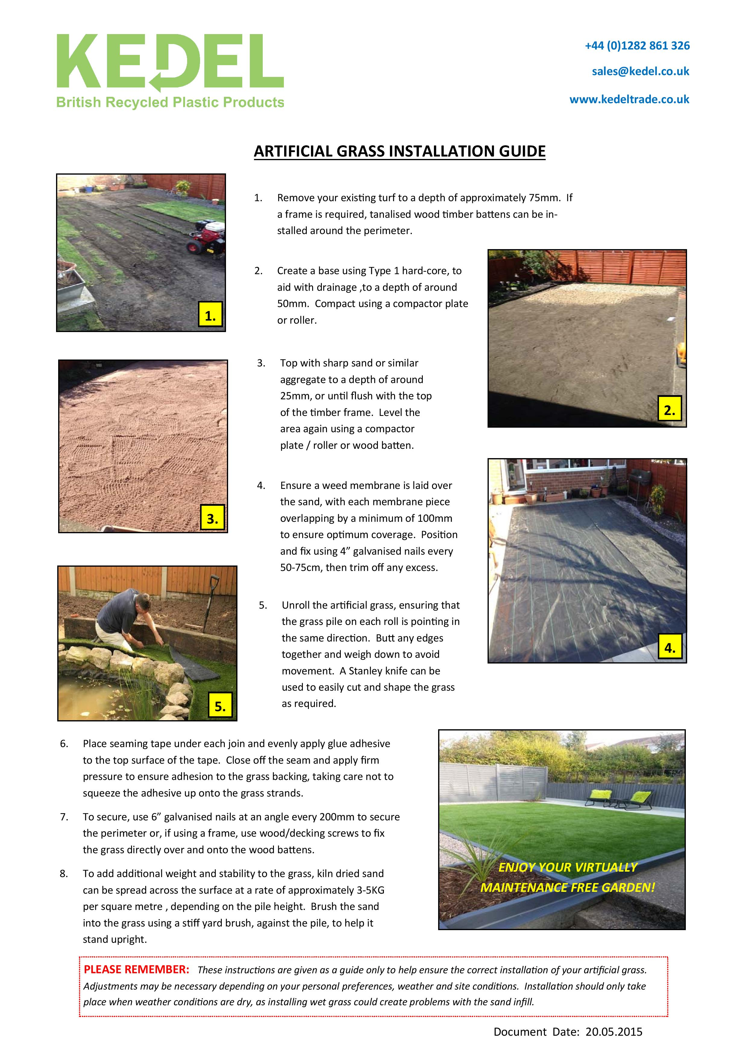 Artificial Grass Recycled Plastic Installation Guide Kedel Limited