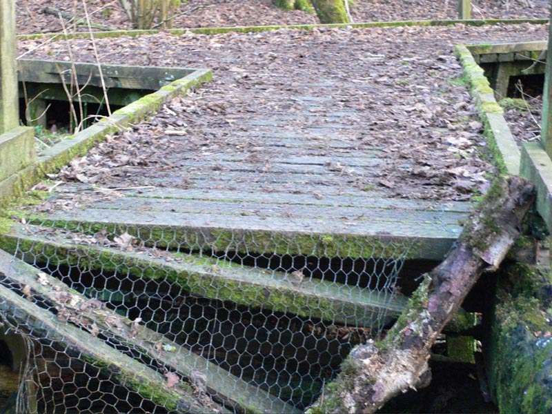 Rotten collapsed decking Moses Gate Country Park