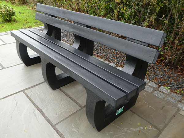 Recycled plastic colne 4 seater bench by kedel