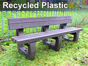 Recycled plastic bench 4 seater Colne