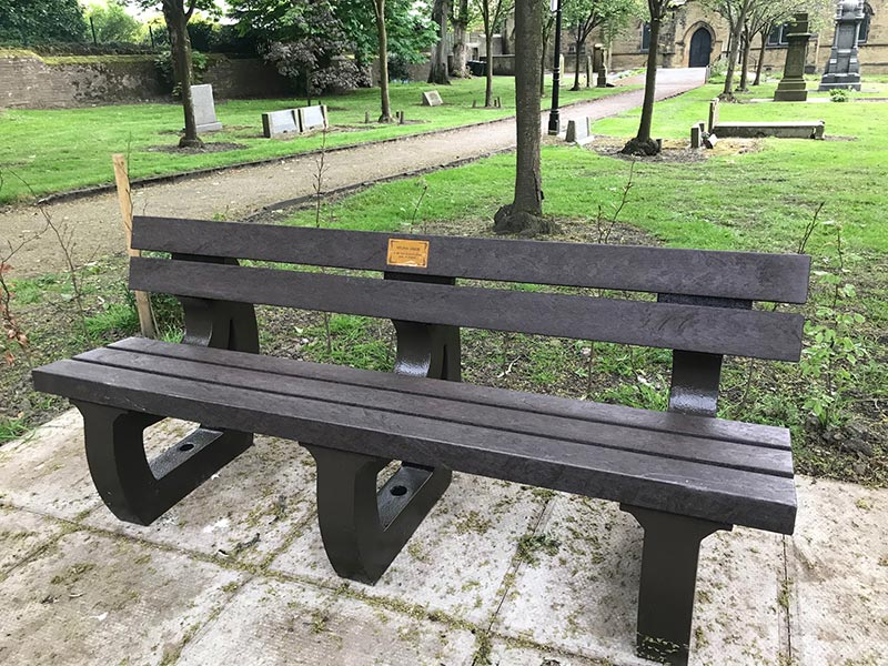 colne bench 4 seater by kedel outside cemetery