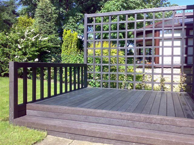 Decking area made from recycled plastic profiles