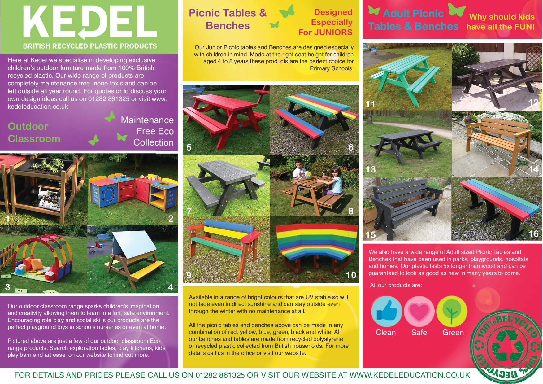 Recycled plastic for education - key advantages leaflet
