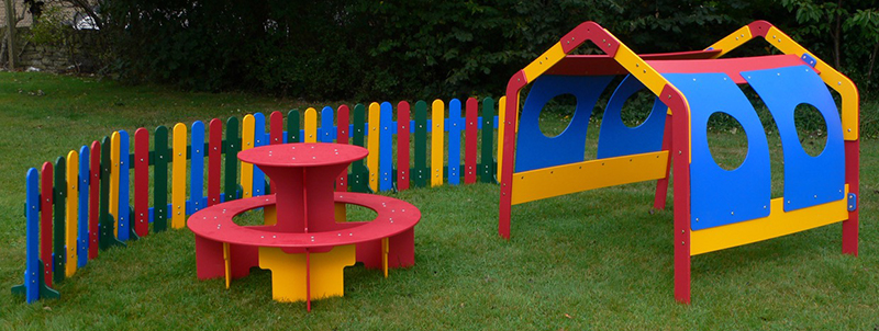 Recycled Plastic Play Den, Round Table and Fencing from Kedel Limited