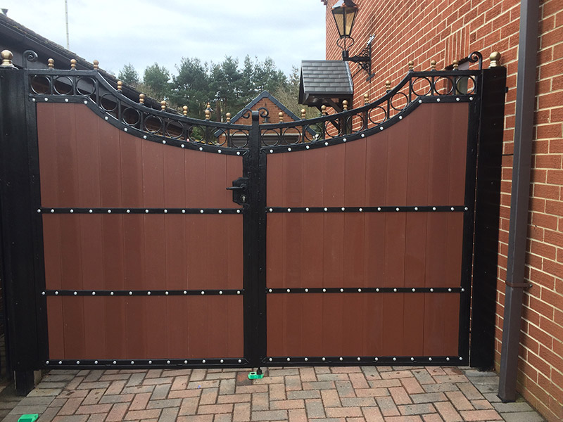 double door gate made from recycled plastic tongue and groove from kedel