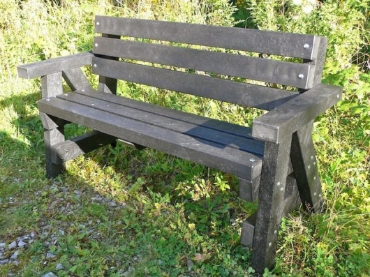 Recycled Plastic Garden Bench with Arms and Back | Ribble