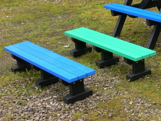Recycled Plastic Bench | 3 Seater Junior Multicoloured Tees Park Bench