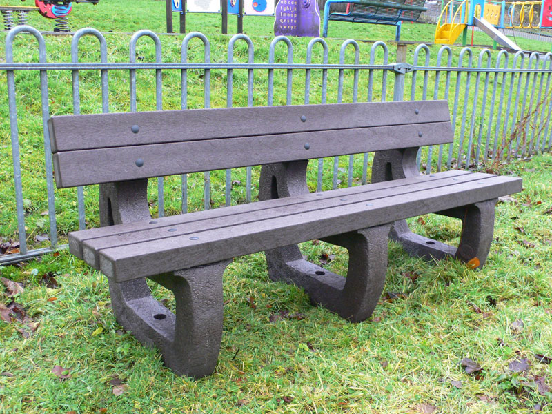 Recycled Plastic 4 Seater Colne Bench in Brown from Kedel