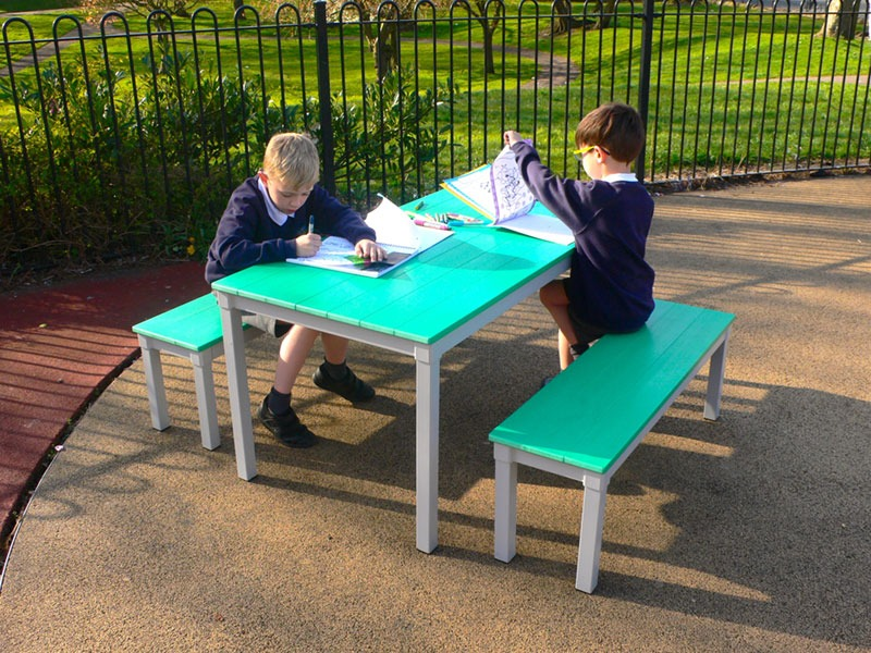 Recycled Plastic Eco-Table and Bench Set