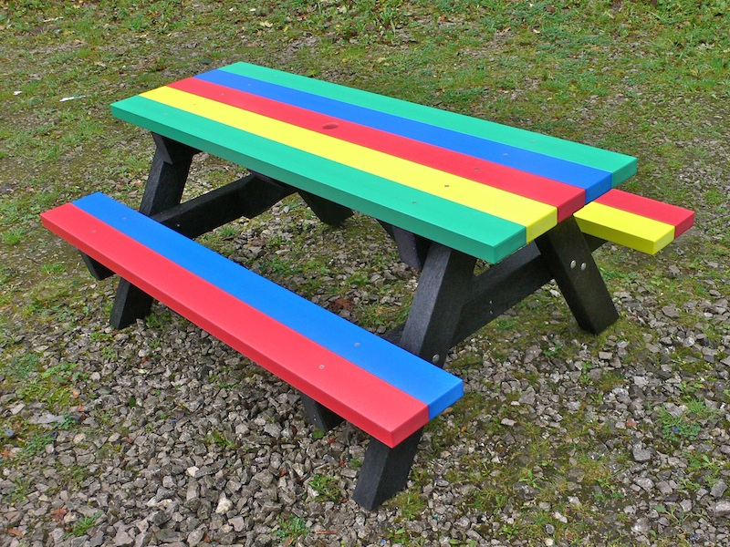 Ribble Rainbow Recycled Plastic Children's Picnic Table from Kedel