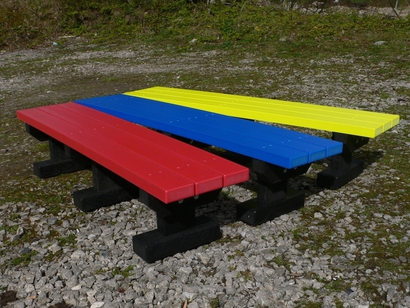 Recycled Plastic Bench | 2 Seater Junior Multicoloured Tees Bench