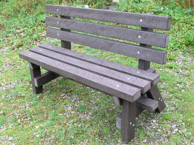 Recycled Plastic Garden Bench With Backrest Ribble