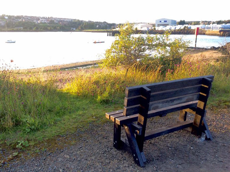 ribble bench by kedel beside seaside town