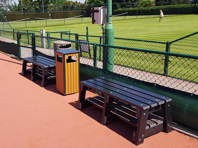thames sports benches by kedel on tennis courts