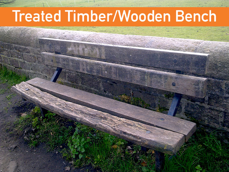 treated tanalised wooden bench that has rotten over time